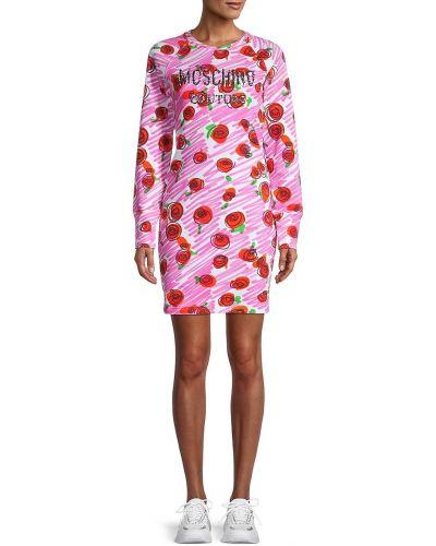 Хлопковое розовое платье макси в цветочный принт Moschino