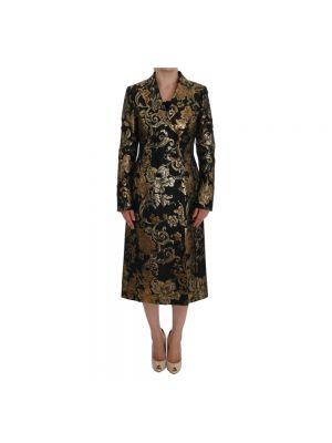 Złoty czarny płaszcz z długimi rękawami Dolce And Gabbana