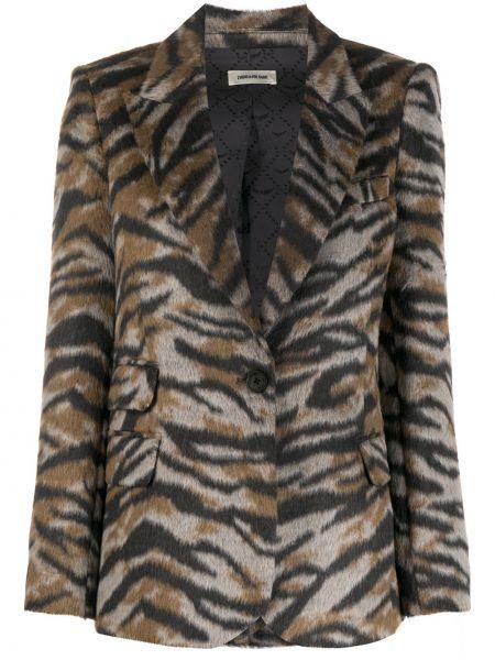 Шерстяной коричневый удлиненный пиджак с карманами Zadig&voltaire
