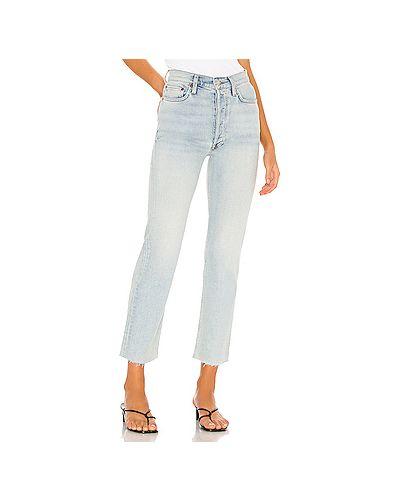 Синие прямые джинсы в полоску Re/done