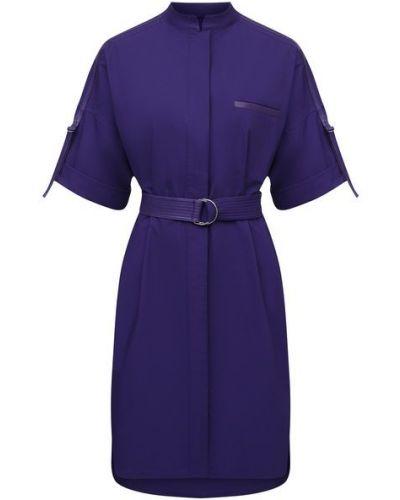 Фиолетовое кожаное платье с декоративной отделкой Yves Salomon