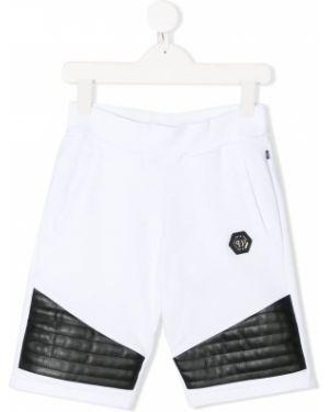 Хлопковые белые шорты для бега Philipp Plein