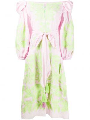 Шелковое розовое расклешенное платье миди с вышивкой Yuliya Magdych