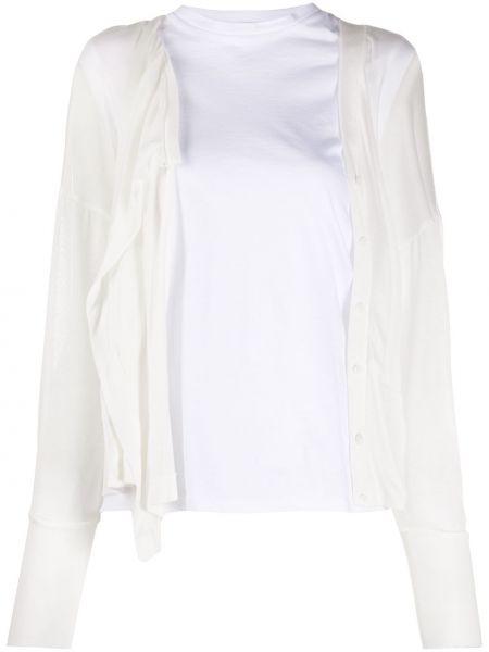 Biały kardigan z łatami z dekoltem w szpic z kieszeniami Enfold