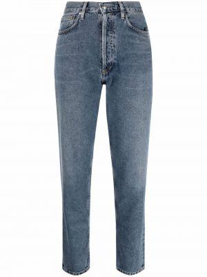 Mom jeans bawełniane - niebieskie Agolde
