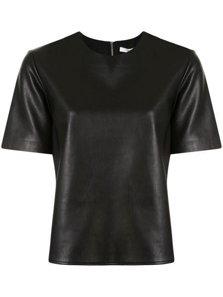 Czarny prosto koszula z krótkim rękawem krótkie rękawy okrągły dekolt Tibi