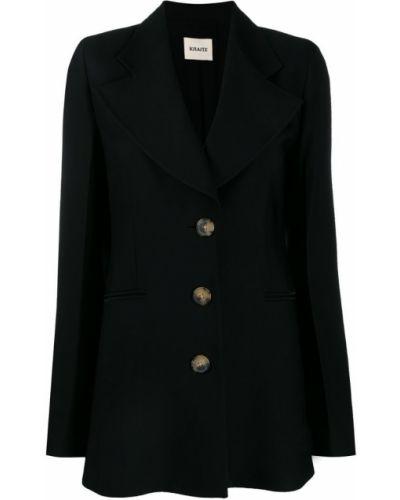 Черный приталенный удлиненный пиджак на пуговицах Khaite