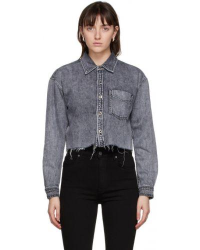 Черная джинсовая рубашка с карманами с манжетами с воротником Grlfrnd