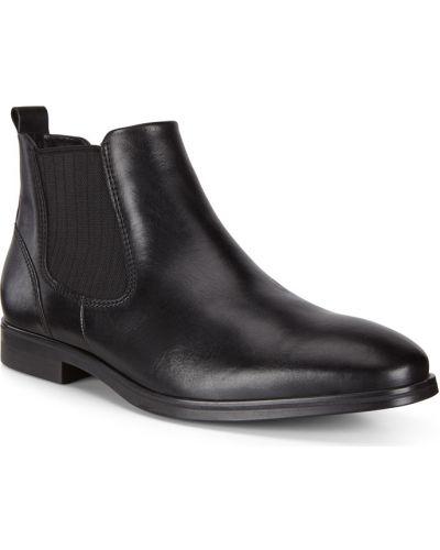 Черные кожаные ботинки челси эластичные Ecco