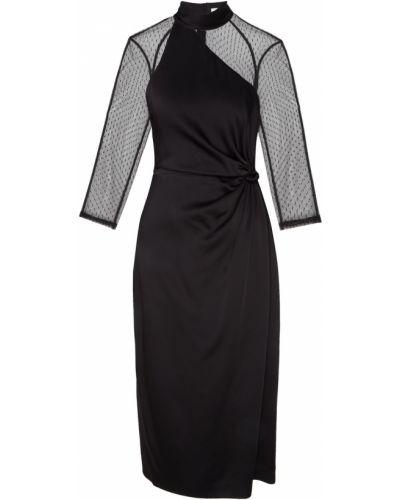 С рукавами черное платье миди с открытой спиной Laroom