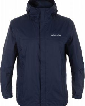 Прямая синяя нейлоновая куртка с капюшоном на молнии Columbia