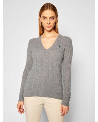 Szary kaszmir sweter Polo Ralph Lauren