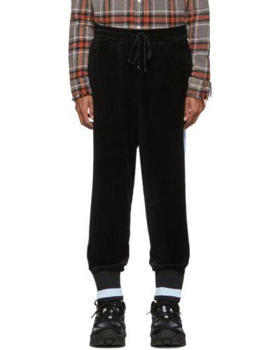 Czarne spodnie sztruksowe w paski Miharayasuhiro