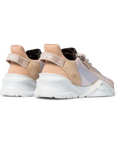 Кожаные кроссовки - розовые Fendi