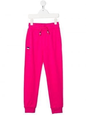 Хлопковые розовые спортивные брюки с нашивками с накладными карманами Rossignol Kids