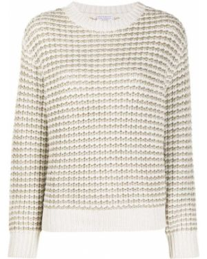 Бежевый шерстяной длинный свитер круглый Brunello Cucinelli
