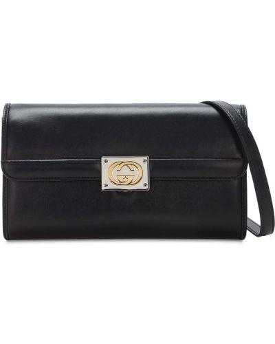 Czarny skórzana torebka z prawdziwej skóry prążkowany Gucci