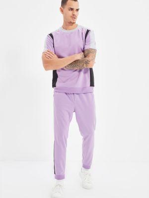 Fioletowy dres bawełniany Trendyol