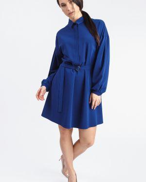 Платье с поясом трапеция синее Lacywear