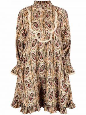 Beżowa sukienka z printem Bytimo