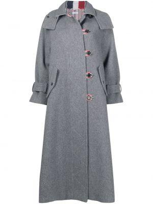 Серое шерстяное пальто Thom Browne