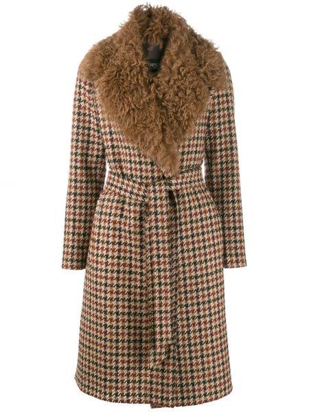 Коричневое кожаное пальто свободного кроя Simonetta Ravizza