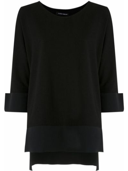 Хлопковая черная прямая блузка с круглым вырезом Gloria Coelho