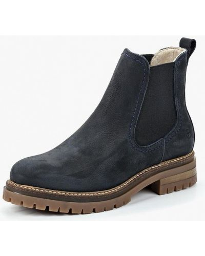 Ботинки челси осенние на каблуке из нубука Tamaris