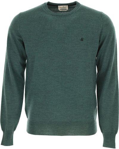 Wełniany zielony sweter z długimi rękawami Brooksfield