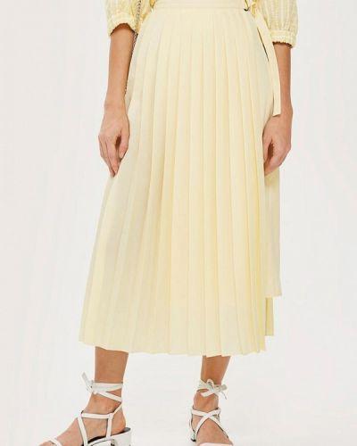 Плиссированная юбка желтый Topshop