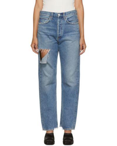 Srebro jeansy o prostym kroju z kieszeniami z mankietami przycięte Agolde