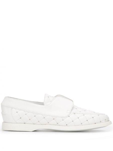Кожаные белые лоферы на каблуке с острым носом Le Silla