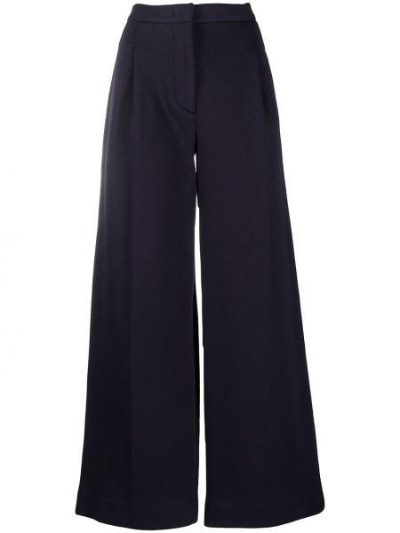 Хлопковые синие плиссированные свободные брюки с высокой посадкой Tela