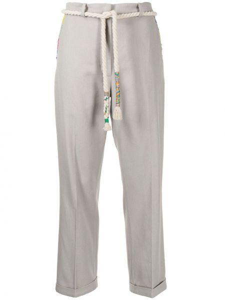 Свободные хлопковые серые укороченные брюки Mira Mikati
