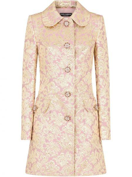 Розовое длинное пальто с воротником с карманами Dolce & Gabbana