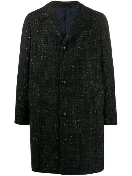 Klasyczny czarny płaszcz wełniany Mp Massimo Piombo
