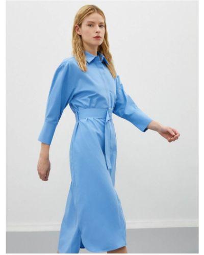 Niebieska sukienka koszulowa bawełniana z paskiem Koton
