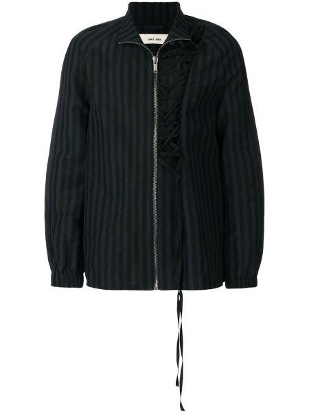 Czarna długa kurtka w paski bawełniana Damir Doma