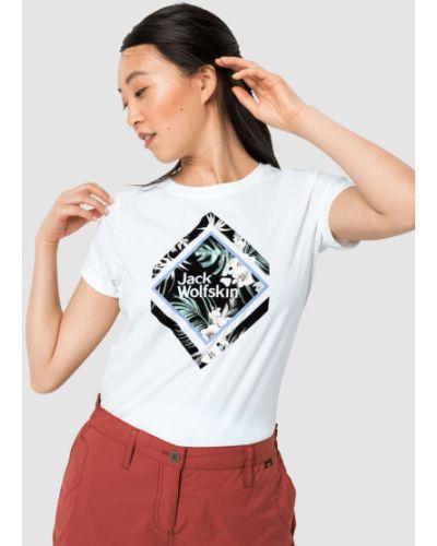 Хлопковая футболка с рисунком квадратная Jack Wolfskin