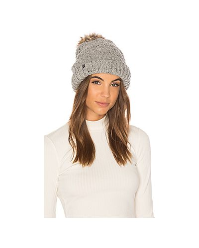 Вязаная шапка с помпоном с мехом трикотажная Plush