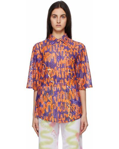 Koszula krótki rękaw - fioletowa Collina Strada