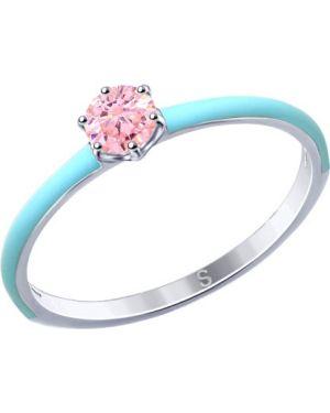 Кольцо из серебра розовый Sokolov