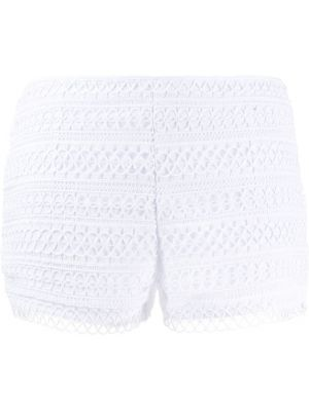 Однобортные ажурные белые короткие шорты Charo Ruiz Ibiza