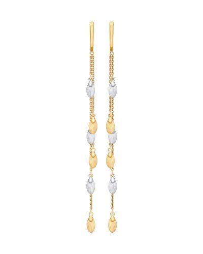 Золотые серьги удлиненные с перьями Sokolov