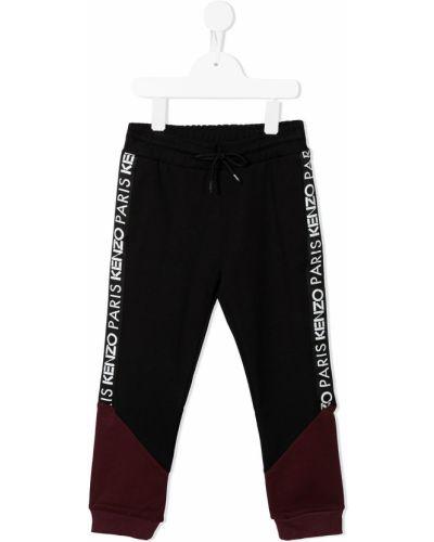 Czarne spodnie bawełniane z printem Kenzo Kids