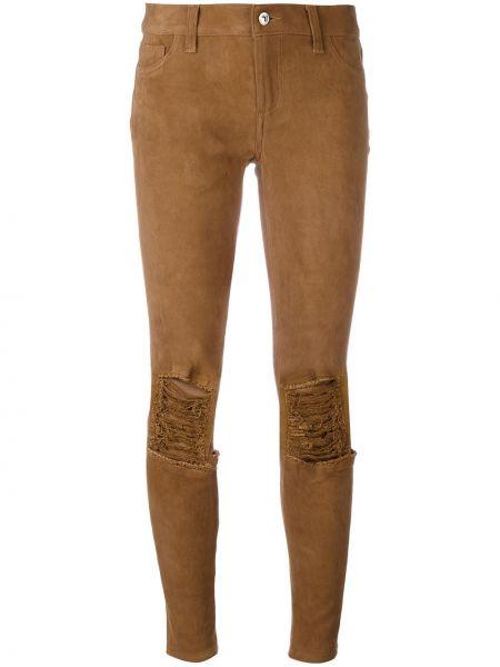 Кожаные коричневые брюки скинни Ash