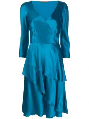 Синее шелковое расклешенное платье с V-образным вырезом Alberta Ferretti