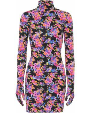 Платье мини с цветочным принтом черное Vetements