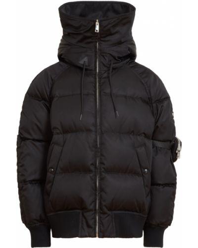 Шерстяная черная куртка с капюшоном Prada