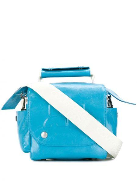 Niebieska torba na ramię skórzana Courreges